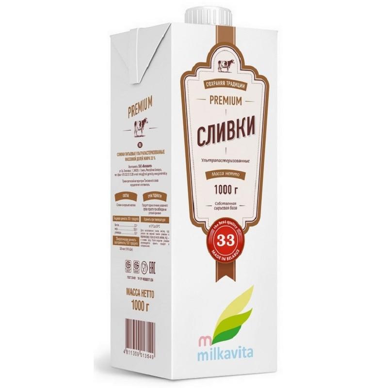 Вершки 33% 1л ТМ Milkavita