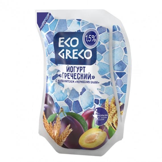 Йогурт Грецький питний чорнослив-злаки 1,5% 800г ТМ Eco Greco