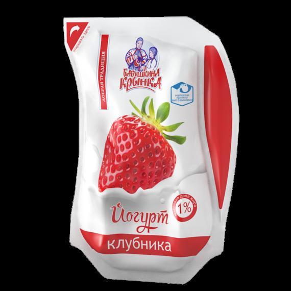 Йогурт Полуниця 1% 800г ТМ Бабушкіна кринка
